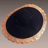 Rare Vintage Schuster's of Milwaukee Black Doeskin and Straw Hat