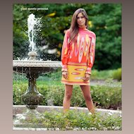 EMILIO PUCCI c.1960s Multicolor Geometric Signature Print Jersey Dress