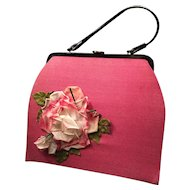Vintage Fuchsia Linen and Black Patent Purse