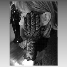 Vintage Black Crochet Gloves