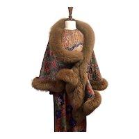 Oscar De La Renta Column Dress and Fur Trimmed Shawl