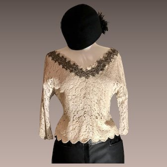 Antique Lace Top with Silver Beaded Detail