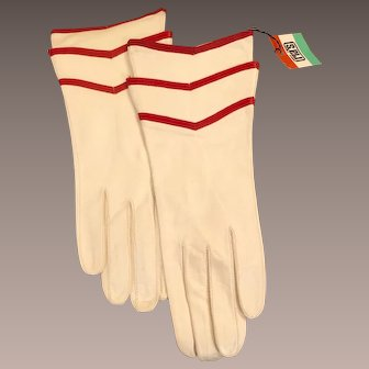 Gauntlet Glove White with Chevron Accents