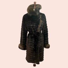 Aspen Black Sheared Mink Coat with Brown Fox Trim