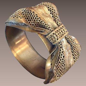 Victorian Brass Hinged Bow Bracelet