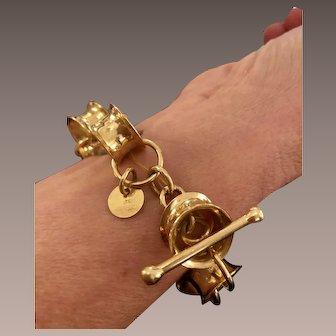 Vintage 18K Gold Kathleen Dennison Barrel Bracelet