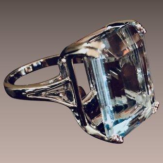 Aquamarine 14K White Gold Ring