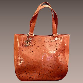 Chanel Perforated Patent Leather Tote- Soft Mango