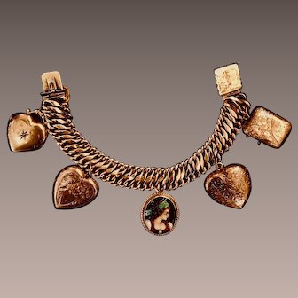 Antique 14K Yellow Gold Charm Bracelet