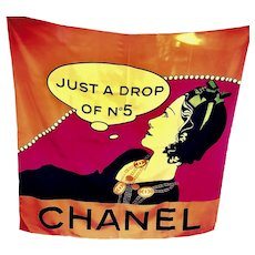 "Extremely Rare Chanel ""Just a drop of No 5"" Scarf"