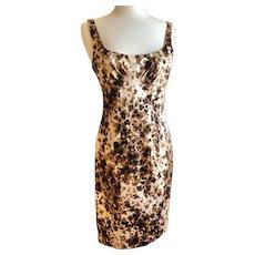 Vintage David Meister Leopard Print Dress Size 8 Stretch Polysatin