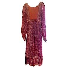 Vintage 1970's Indian Gauze Festival Boho Dress Empire Fit Mid Length