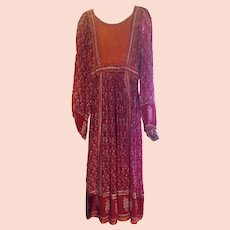 Vintage 1970's Indian Gauze Festival Boho Dress Empire Fit Mid Length