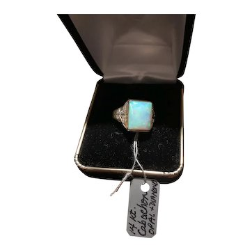 Vintage 1980's Square Opal With 14K Gold Diamonds
