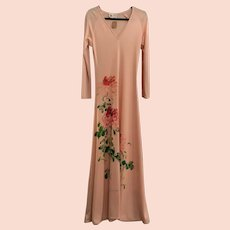 Vintage 1960's Hand Painted Blush Mimosa Dress