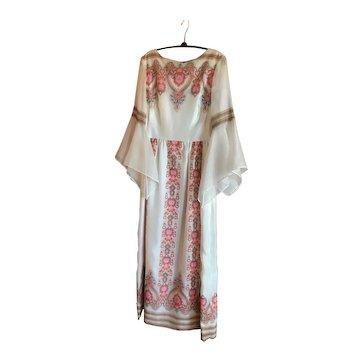 Vintage Alfred Shaheen Boho White Dress Dolman Sleeve