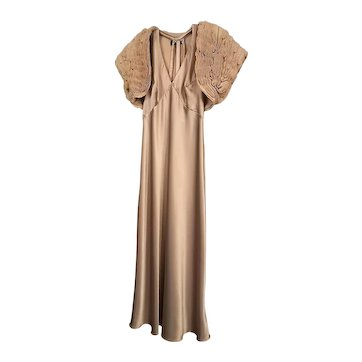 Vintage 1960's Beige Silk Dress with Open Back M/L