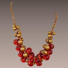 Bohemian Orange Glass Bead Cluster Necklace