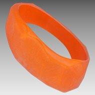 Orange Lucite Resin Bracelet Vintage