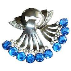 Art Deco Sterling Cobalt Blue Clear Rhinestones Pin Brooch