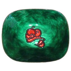 Perli Cloisonne Red Stylized Fruit Green Tray Germany