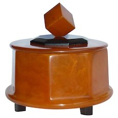 Iconic Balanced Cube  Black and Butterscotch Bakelite Box 1940s