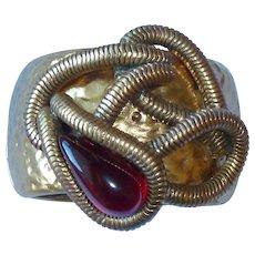 Medieval Oscar de la Renta Gold Tone Wide Hinge Bracelet
