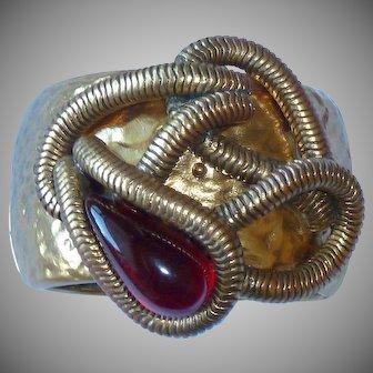 Medieval Oscar de la Renta Large Gold Tone Wide Hinge Bracelet