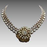 Miriam Haskell Triple Baroque Faux Pearl Strand Vintage
