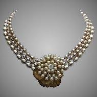 Miriam Haskell Triple Baroque Imitation Pearl Strand Vintage