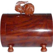 Bakelite Footed Box Carved Elephant Head Finial Vintage
