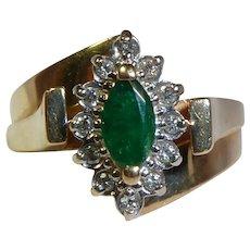 14K Gold Emerald Diamond Ring Vintage