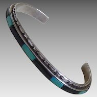 Zuni Sterling Black Onyx Turquoise Inlay Bracelet M Weahkee