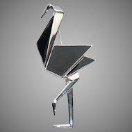 Trifari TM Origami Style Crane Pin Brooch