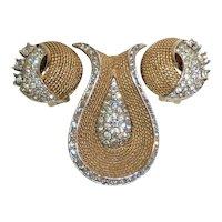 Boucher Gold Tone Clear Rhinestone Pin Dress Clip Earrings 1960s