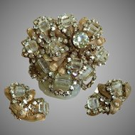 Miriam Haskell Glass and Rhinestone Pin and Earring Set Vintage