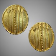 Karl Lagerfeld Gold Tone Arts and Crafts Design Earrings