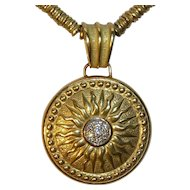 Torrini 18K Gold Diamond Sunburst Pendant Necklace Italy