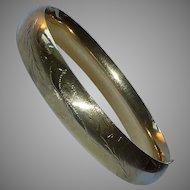 Edwardian 14K Yellow Gold Engraved Bangle Bracelet