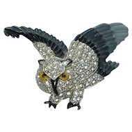 Rhinestone Enamel Flying Swivel Head Owl Pin Brooch Vintage