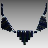 Art Deco Deep Blue Chrome Metallic Overlay Glass Necklace Vintage German