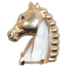 Lucite Jelly Belly Brass Horse Head 1940s