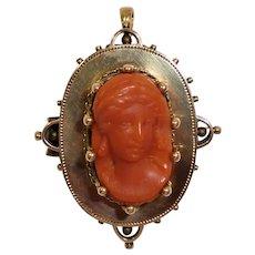 Coral Cameo 14K Gold Pin Pendant Victorian