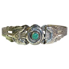 Navajo Sterling Silver Natural Turquoise Bracelet Snakes Eagles Vintage