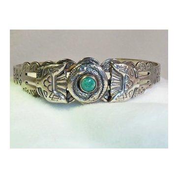 Navajo Sterling Turquoise Bracelet Snakes Eagles Vintage