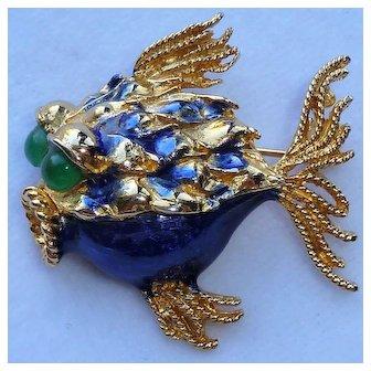 Hattie Carnegie Blue Puff Fish Pin Brooch