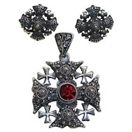 Jerusalem/Crusader's Cross with Earrings 900 Silver Vintage