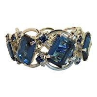 Large Blue Chrome Deep Blue Glass 60s Bracelet