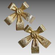 Miriam Haskell Ribbon Bow Earrings Vintage