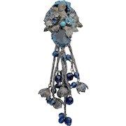 DeMario Cascade Blue Silver tone Brooch Pin Vintage